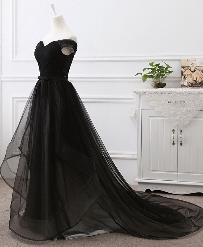 Black tulle long prom dress, black evening gdress