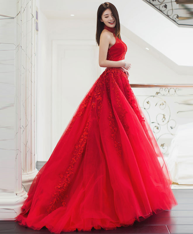 Red lace two pieces long prom dress, red evening dress
