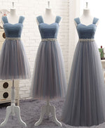 Gray sweetheart neck tulle prom dress, gray evening dress