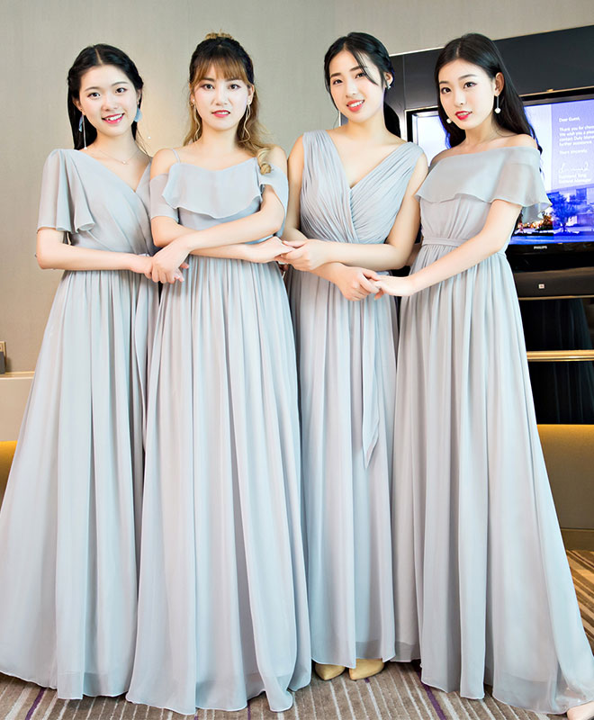 Gray chiffon long prom dress, bridesmaid dress