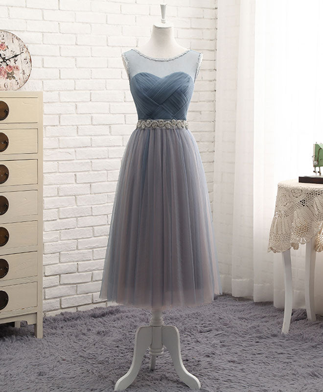 Gray round neck tulle prom dress, gray evening dress