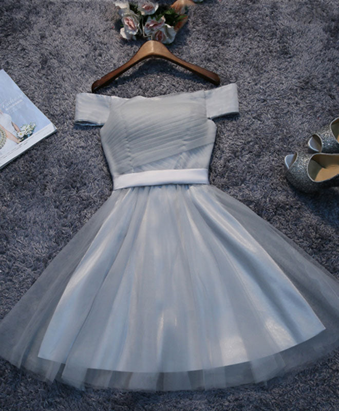 Simple gray tulle mini prom dress, homecoming dress