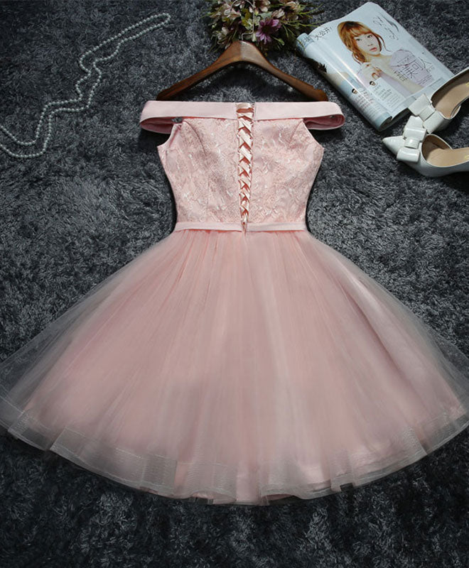 Cute pink lace tulle short prom dress, homecoming dress