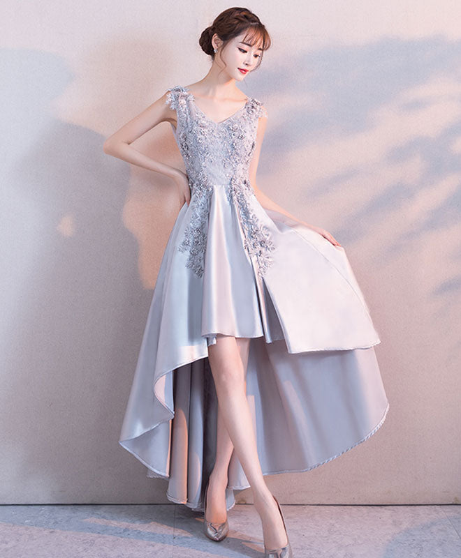 Gray lace satin high low prom dress, lace evening dress