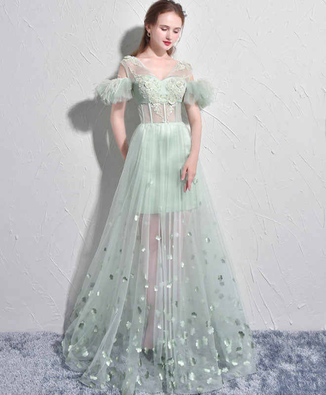 Unique Green Tulle V Neck Long Prom Dress Green Evening Dress