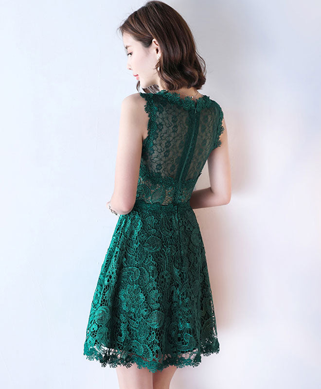 Green lace see through short prom dress, lace evening dress