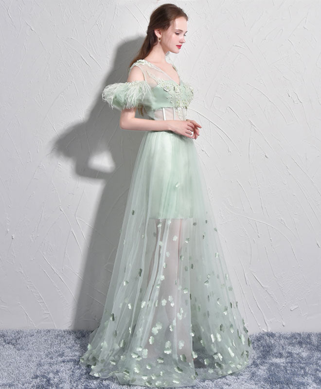 Unique green tulle v neck long prom dress, green evening dress