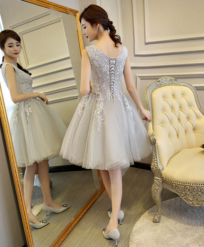 Gray v neck lace tulle short prom dress, homecoming dress