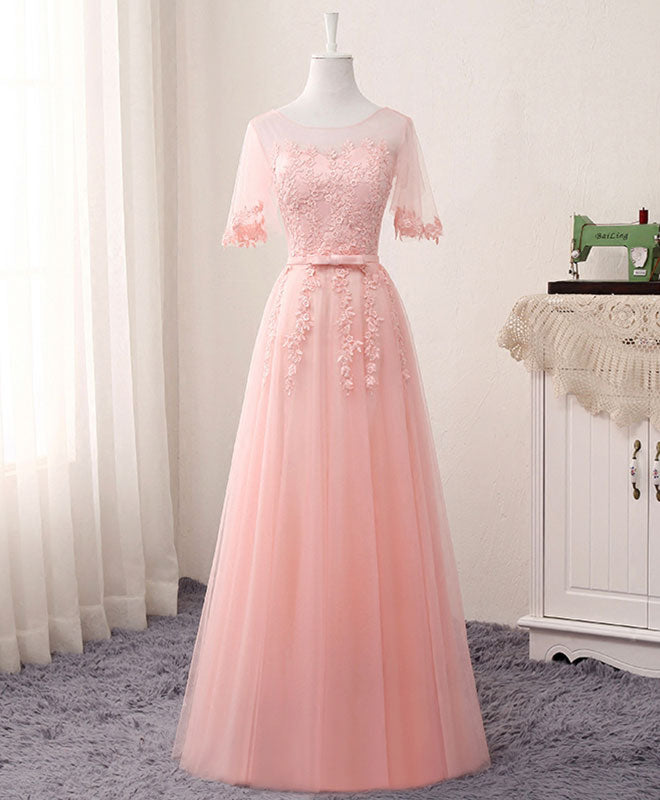 Pink A line lace tulle long prom dress, lace evening dress