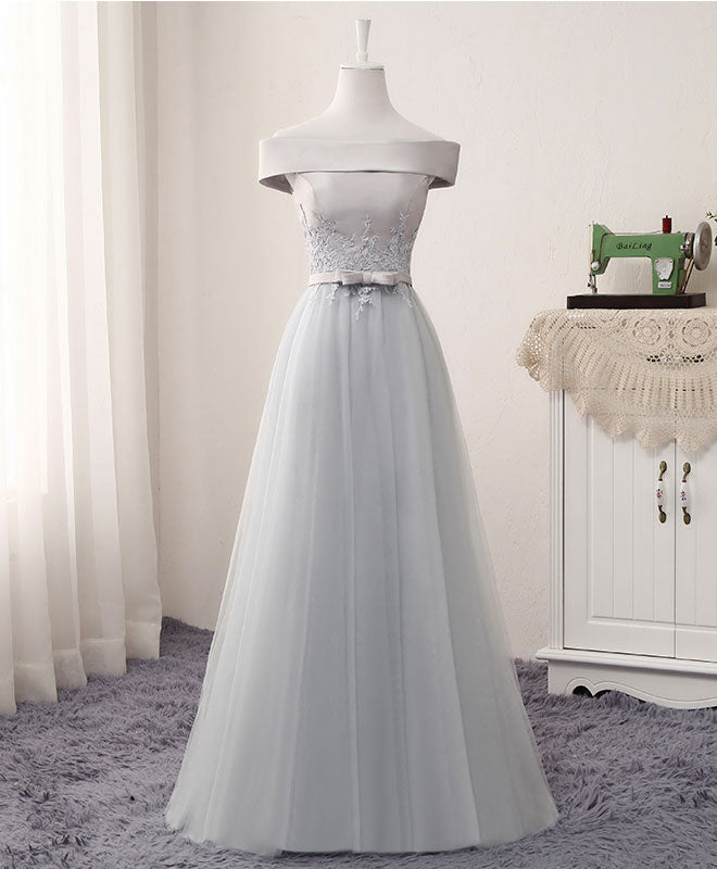 Gray A line lace tulle long prom dress, lace evening dress