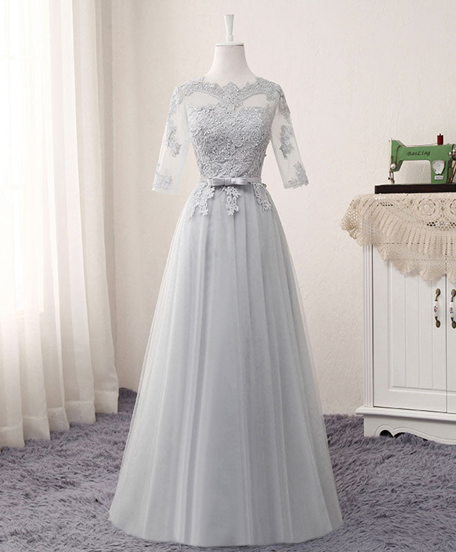 126aef9ddd9fcf Gray A line lace tulle long prom dress, lace evening dress
