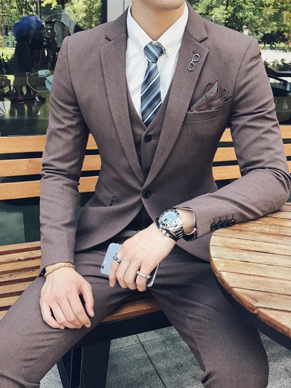 Blazer Men Casual Gray Suit Gray Fashion Graduation suit