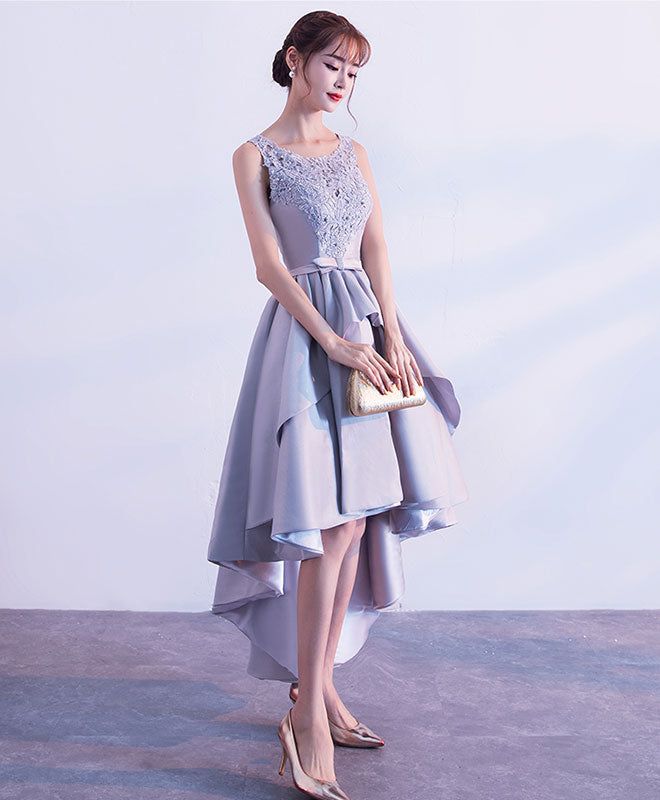 Gray high low lace prom dress, lace evening dress