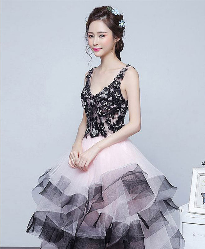 Cute v neck high low tulle prom dress, lace evening dress
