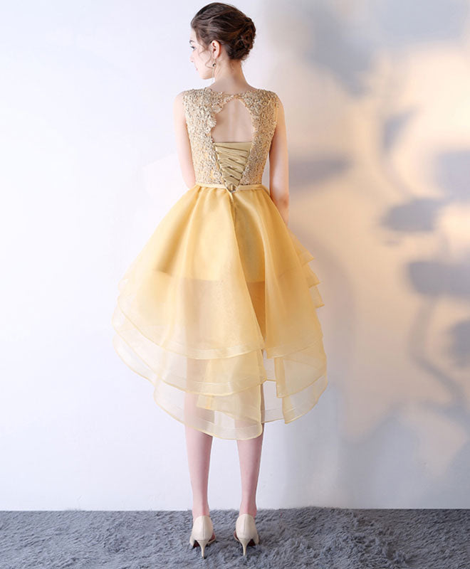 Gold lace tulle high low prom dress, homecoming dress