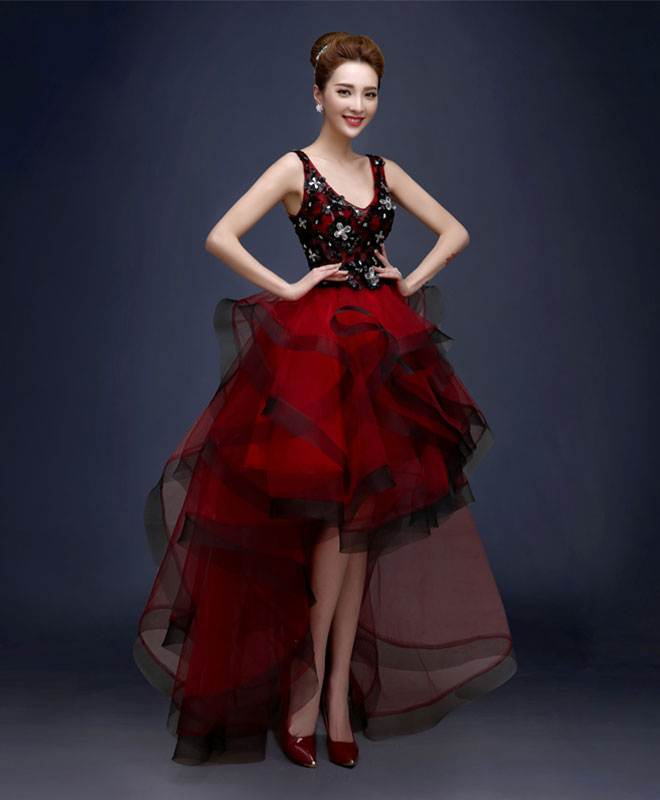 Burgundy v neck high low tulle prom dress, lace evening dress