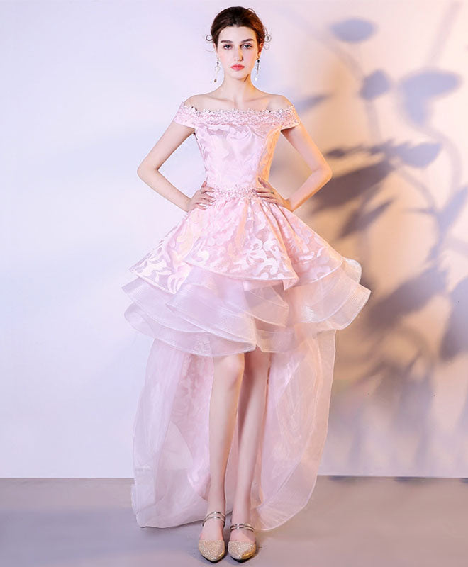 Pink lace tulle high low prom dress, homecoming dress