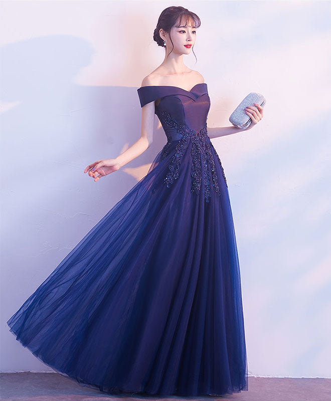 Dark blue off shoulder long prom dress, blue evening dress