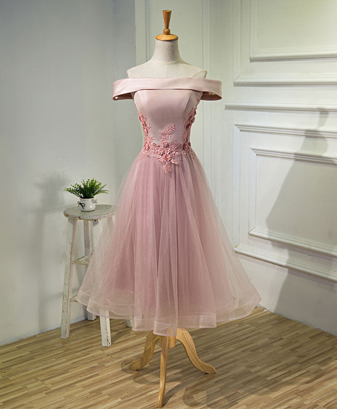 Pink A line off shoulder tea length prom dress, lace evening dress