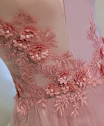 Pink A line off shoulder knee length prom dress, lace evening dress