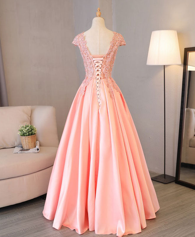 Custom made v neck lace long prom dress, lace evening dress