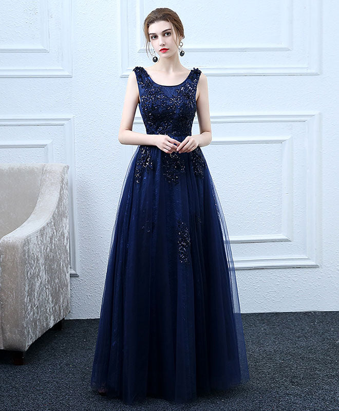 334f6de990c Dark blue tulle long prom dress