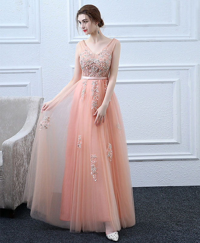 Pink v neck tulle lace long prom dress, lace evening dress
