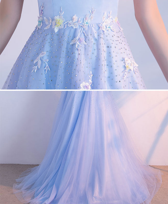 Light blue sweetheart neck tulle lace long prom dress, evening dresses