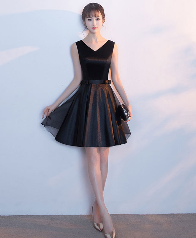 Cute black v neck short prom dress with bow, homecoming dress