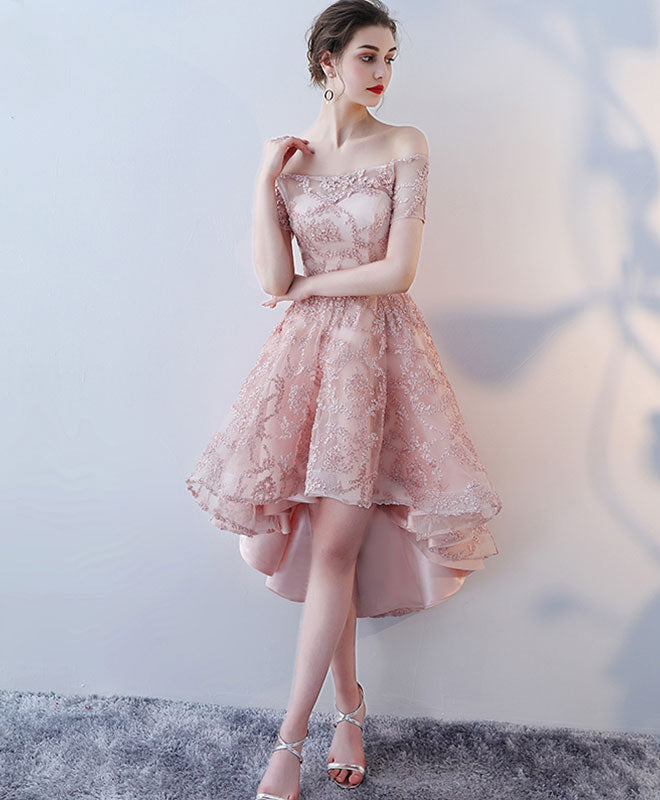 Champagne lace high low prom dress, lace evening dress