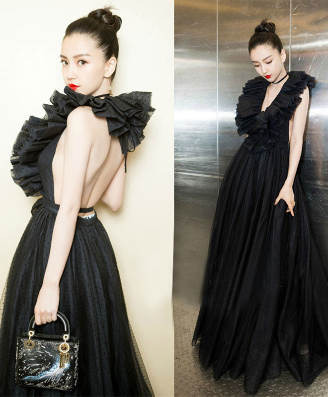 Amazing black backless long prom dress, black evening dress