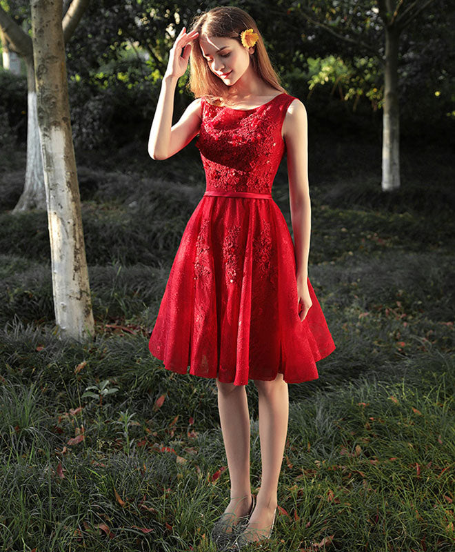 Cute red lace short prom dress, red evening dress