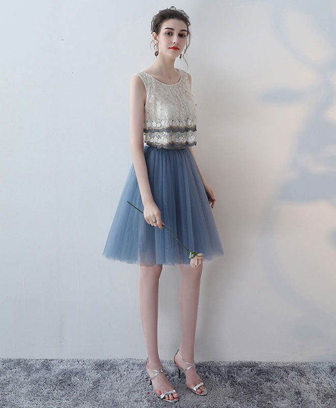 Blue lace tulle short prom dress, homecoming dress