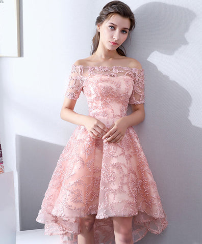 fe096612fdf Lovely champagne lace tulle short prom dress