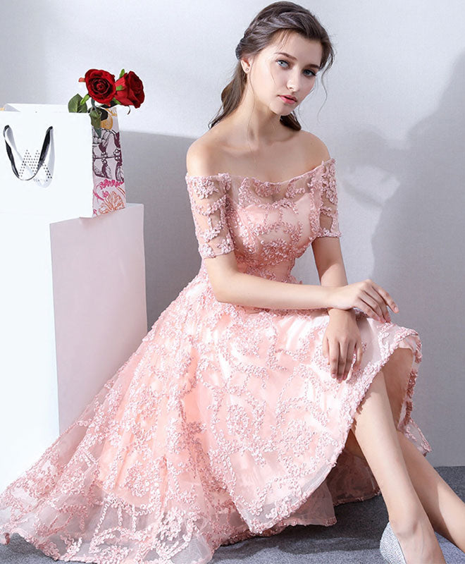 Pink lace high low prom dress, lace evening dress