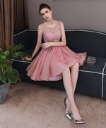 Cute lace short prom dress, lace evening dress