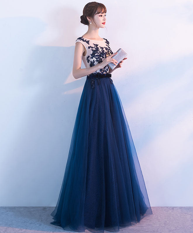 Elegant dark blue tulle lace long prom dress, blue evening dress