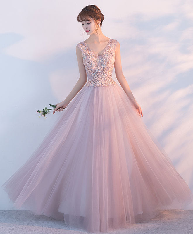Elegant pink tulle lace long prom dress, pink evening dress