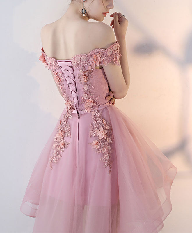 Pink lace high low prom dress, homecoming dress
