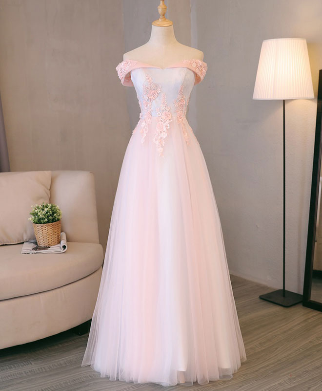 Light pink lace off shoulder lonng prom dress, pink evening dress