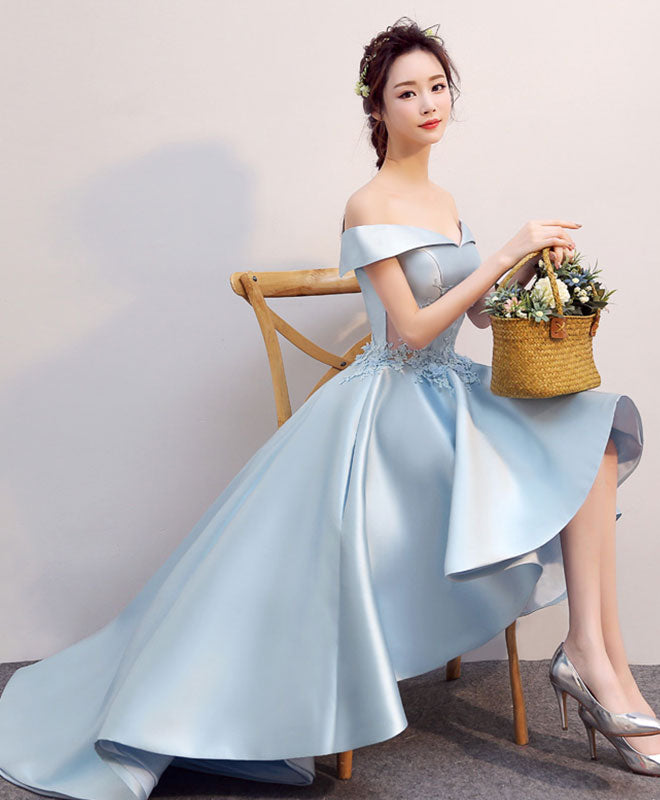 Light blue high low lace prom dress, evening dress