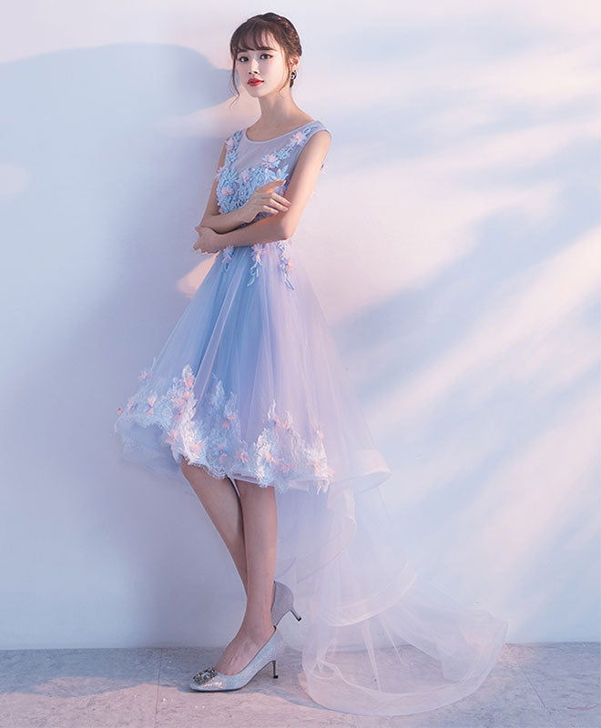 Light blue lace high low prom dress, homecoming dress