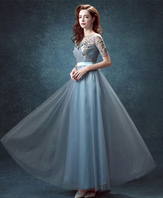 Elegant tulle sequins long prom dress, evening dresses