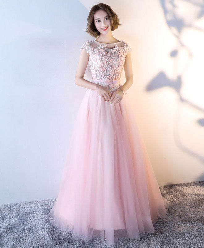 Cute 3D flowers tulle long prom dress, evening dress