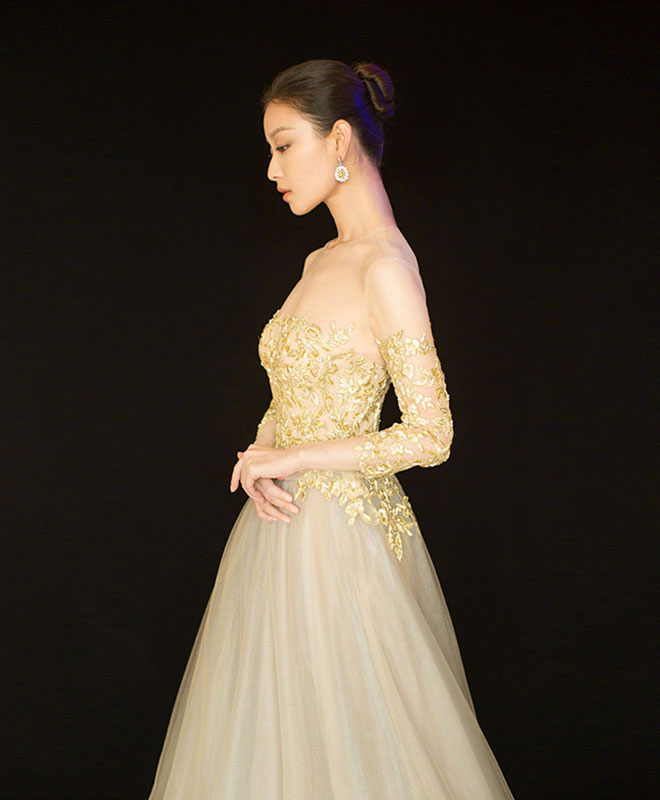Gold lace tulle long prom dress, lace evening dress
