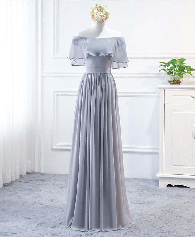 Simple round neck chiffon long prom dress, bridesmaid dress