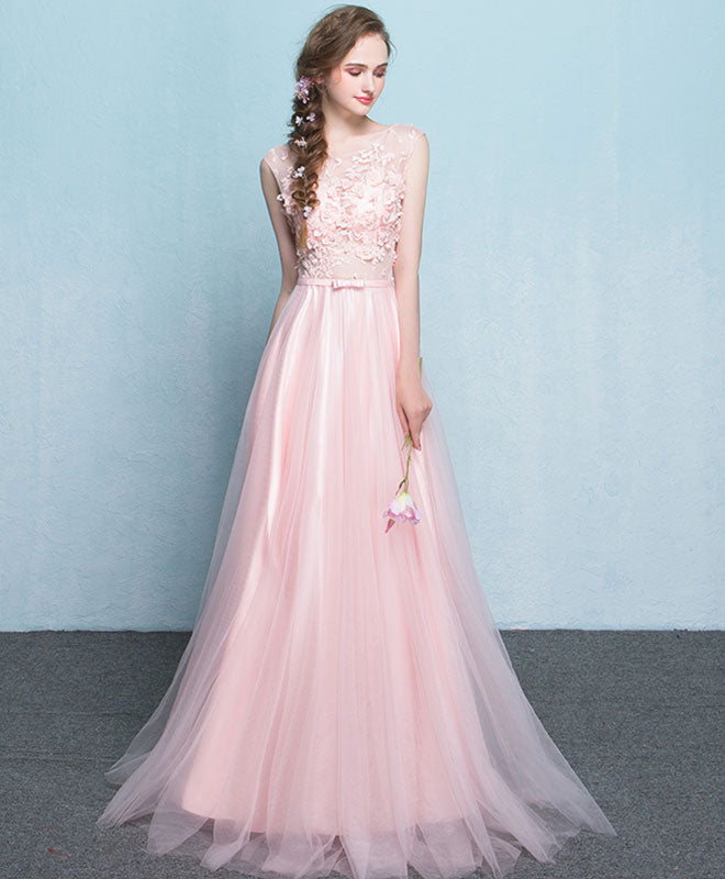 Pink lace see through long prom dress, pink evening dress