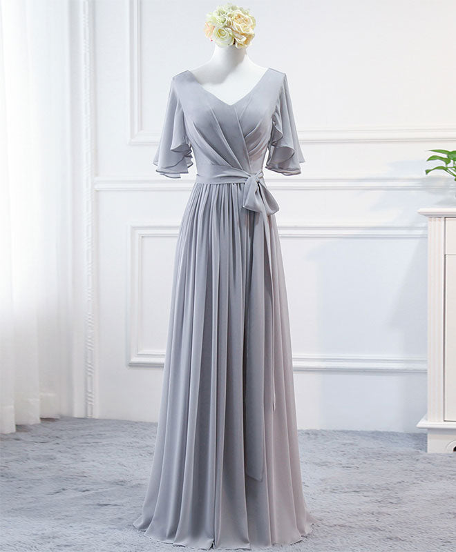 Simple V neck chiffon long prom dress, bridesmaid dress