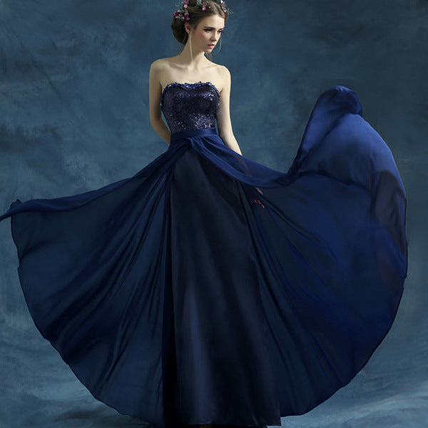 Navy blue sequins chiffon long prom dress, formal dress