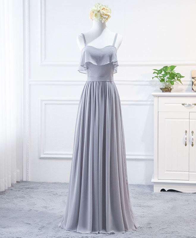 Simple sweet neck chiffon long prom dress, bridesmaid dress